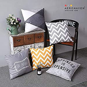 AEROHAVEN Satin Decorative Throw Pillow/Cushion Covers (12 x 12 Inches, Multicolour) – Set of 5