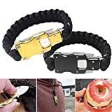 KingFurt Outdoor Survival Multi Functional Bracelets, Tactical Parachute Rope Bracelet with Packet Knife Self Defense for Hiking Travelling Hunting (Gold + Black)