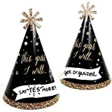 New Year's Eve - Gold - Cone New Year's Eve Resolution Party Hats - Set of 16