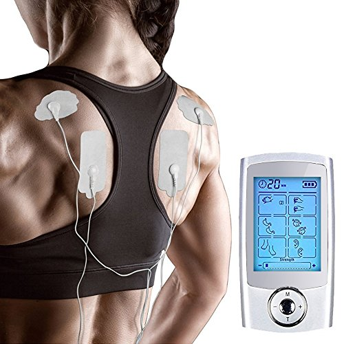 Yimaler Tens Unit Rechargeable Electric Muscle Stimulator with 12 Pads 16 Modes Pulse Impulse Mini Therapy Massager Machine for Pain Relief FDA Approved 2017 Upgrade by Yimaler (Image #4)