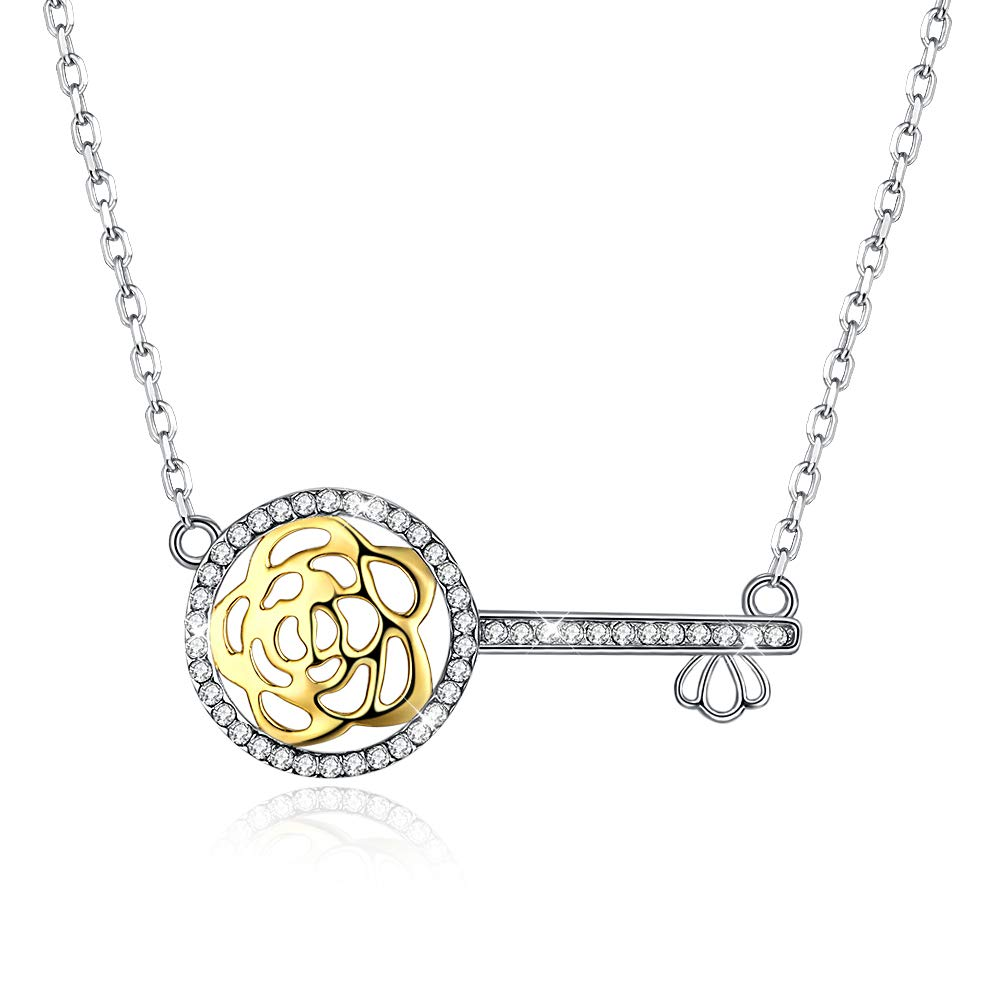 YJEdward Flower Rose Key Necklace Love Secret Austrian Crystal 925 Sterling Silver Gift