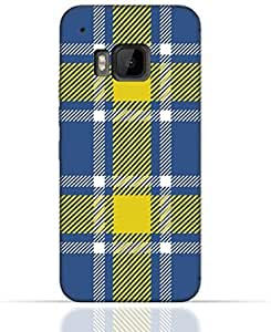 HTC M9 TPU Silicone Case with Blue and Yellow Plaid Fabric Design