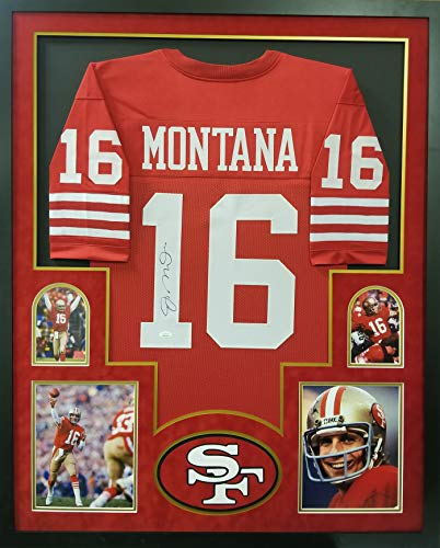 Joe Montana San Francisco 49ers Autograph Signed Custom Framed Jersey Red 4 Picture JSA Witnessed -