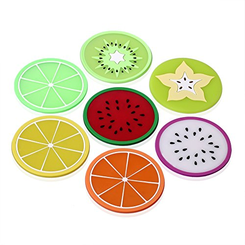 SIENOC 7 Colorful Fruit Slices Silicone Creative Coasters for Drinks and Coffee Especially Design for Your Bar , Kitchen and Patio Slice Silicone