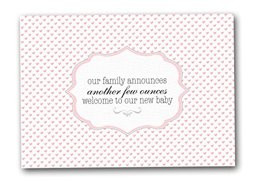 Cute Baby Girl Birth Announcement Cards, Few Ounces (Boxed Set of 12 Cards - Envelopes Included)