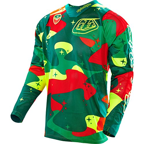 Troy Lee Designs SE Air Men's Off-Road Motorcycle Jersey - Cosmic Camo Green/Yellow / Medium