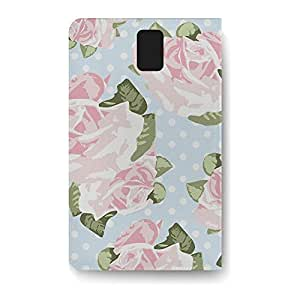 Leather Folio Phone Case For Samsung Galaxy Note 3 Leather Folio - Pink Roses on Blue Polka Dots Flip Protective