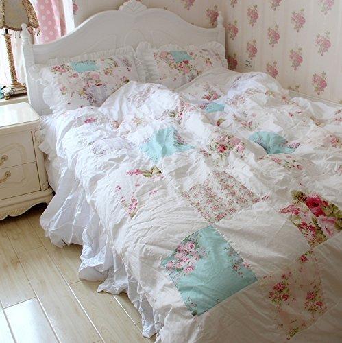 FADFAY Beautiful Handmade Patchwork Floral Bedding Sets Romantic Korean Girls Duvet Cover Bed Set