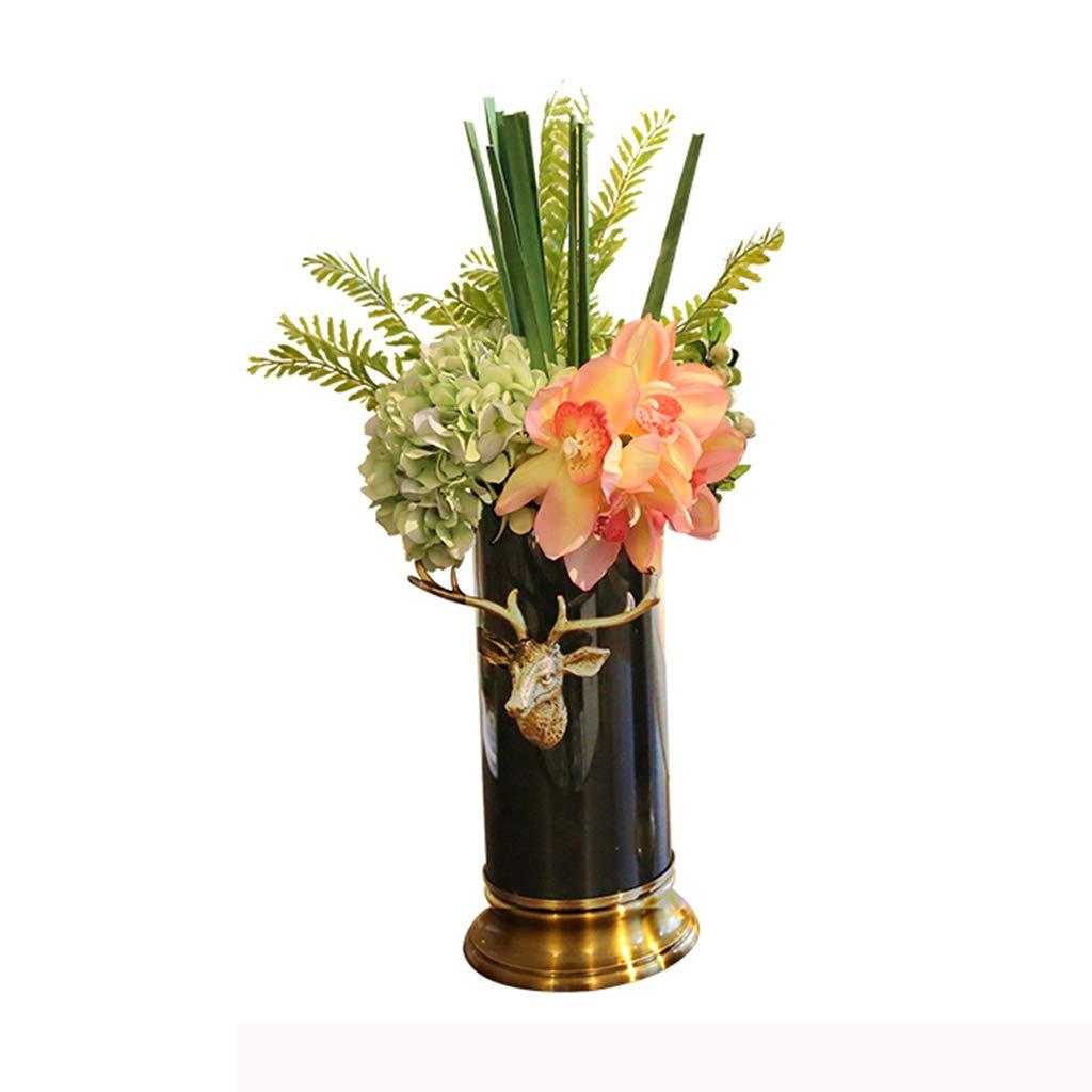 フラワーベース花器 花瓶コンテナセラミックジュエリーギフトホームデコレーションネオクラシックホームモデルルームの花瓶セット装飾装飾ヴィラフラワーアレンジメント (Color : Black, Size : 30*15*15cm) B07SX6VFP6 Black 30*15*15cm