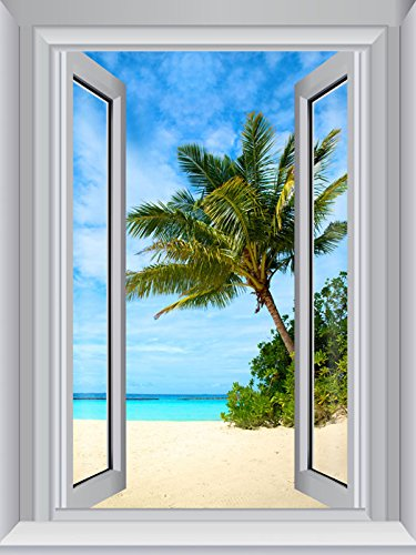 JP London Peel and Stick Removable Wall Decal Sticker Window Mural, Beach Sand Tropical Water, 24 by 18-Inch