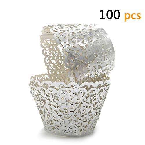 GOLF 100Pcs Cupcake Wrappers | Artistic Bake Cake Paper Filigree Little Vine Lace Laser Cut Liner Baking Cup Wraps Muffin CaseTrays for Wedding Party Birthday Decoration (Silver)