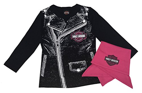 Girls Biker Shirts - Harley-Davidson Baby Girls' Biker Babe Tee & Doo Rag Starter Kit 2513717 (24M)
