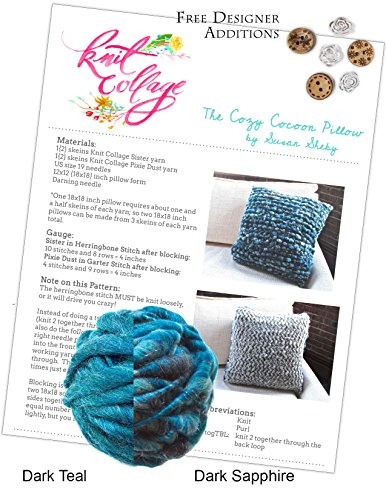 Create Your Own Knit Collage Cozy Cocoon Pillow Kit 12 x 12 Inches (Plus Free Designer Additions!) (Pixie Dust Dark Sapphire and Sister Yarn Dark Teal) by Knit Collage