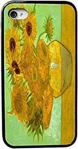Rikki KnightTM Van Gogh Art Twelve Sunflowers Design iPhone 4 & 4s Case Cover (Black Rubber with bumper protection) for Apple iPhone 4 & 4s