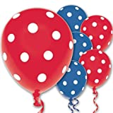 Red and Blue Polka Dot Latex Balloons 20ct