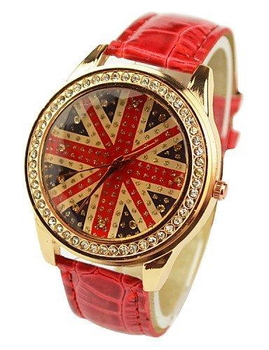 PEISHI J las mujeres de moda diamante Unión Jack relojes (colores surtidos), Naranja: Amazon.es: Relojes