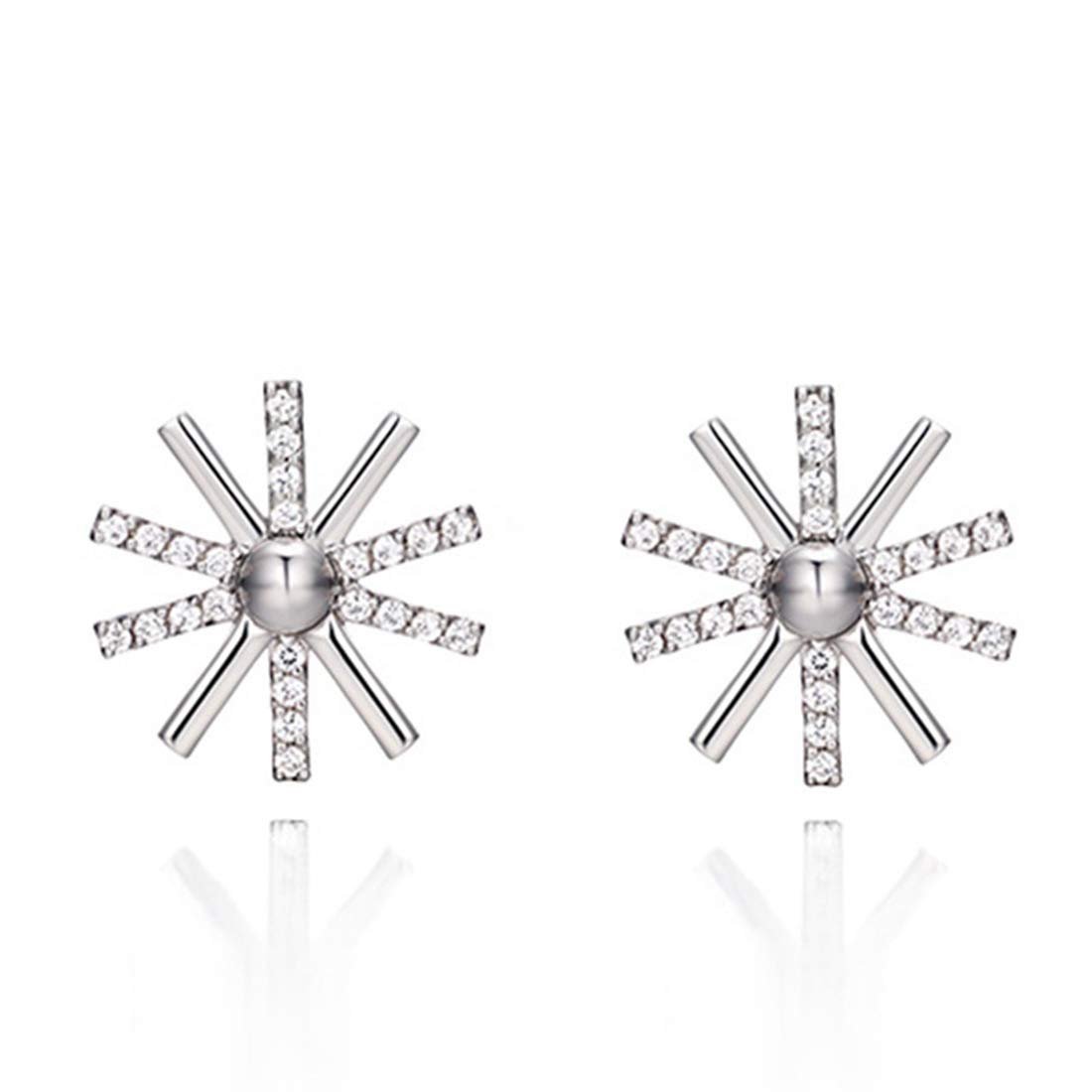 Stud Earrings for Girls BaiYunPOY Hypoallergenic Silver Plated Flower Stud Earring For Women Gift