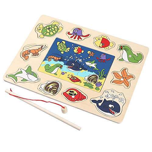 Doinshop Magnetic Fishing Game and 3D Jigsaw Puzzle for Kids Board Wooden Educational Toy(Random) ()