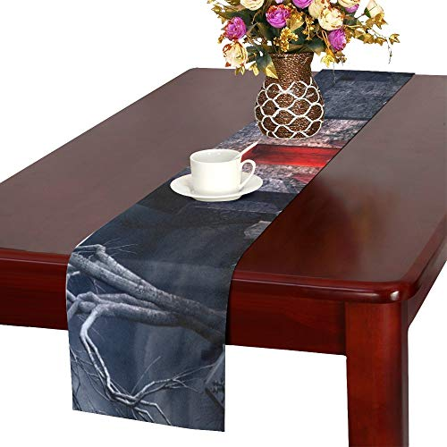(WUTMVING Dark Gothic Scenery Old Crypt Creepy Table Runner, Kitchen Dining Table Runner 16 X 72 Inch for Dinner Parties, Events,)