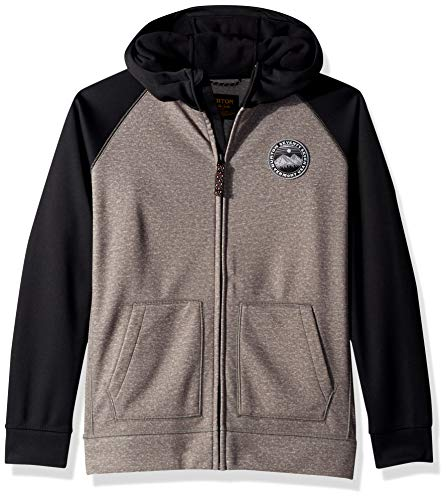 Bonded Full Zip Fleece - Burton Boys' Crown Bonded Full Zip Hoodie, Monument Heather/True Black, Medium