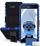 iTALKonline Sony Xperia E4G E2003 E2006 E2053 Blue Black Tough Hard Shock Proof Rugged Heavy Duty Case Cover with Viewing Stand and LCD Screen Protector Guard