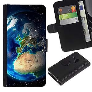 LASTONE PHONE CASE / Lujo Billetera de Cuero Caso del tirón Titular de la tarjeta Flip Carcasa Funda para Samsung Galaxy S3 MINI NOT REGULAR! I8190 I8190N / Planet Earth From Space