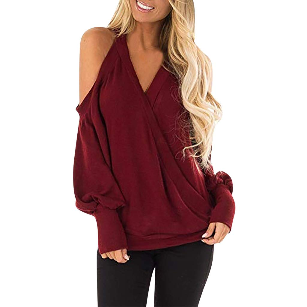 HULKAY Women's Cold Shoulder Tops Long Sleeve Deep V-Neck Wrap Front Blouse Loose Pullover Boho(Red,XL)