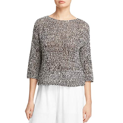 Eileen Fisher Womens Knit 3/4 Sleeves Sweater B/W S Black
