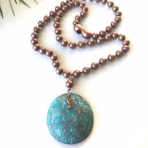 Paisley Copper (Royal Patina Oval Medallion Necklace with Paisley and Copper Chunky Ball Chain by BANDANA GIRL)