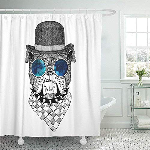 (Staroind Shower Curtain 72x72 Inches White Animal Bulldog for Tattoo Emblem Badge Design Funny Adorable Bob Hat Hat Mildew Resistant Machine Washable)