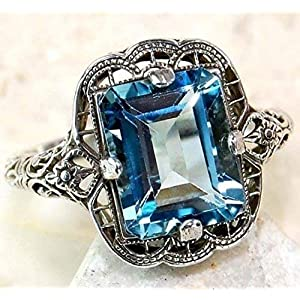 Huge Natural 3.5Ct Tanzanite Silver Plated Ring Women Wedding Engagement (sapphire #7)