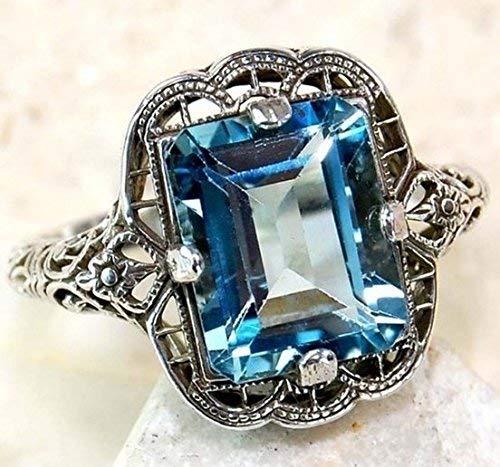 Huge Natural 3.5Ct Tanzanite 925 Silver Ring Women Wedding Engagement (sapphire #8)