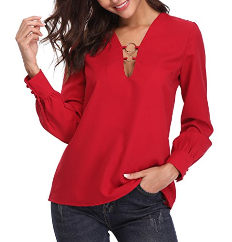 Moly Top Ring - MISS MOLY Women's Sexy Ring Deep V Neck Long Sleeve Blouse Top Red