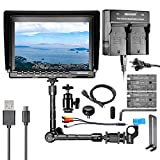 Neewer NW759 7'' HD Camera Monitor Kit, 1280x800 IPS Screen Camera Monitor + 11'' Magic Arm + Dual Battery Charger + 2 Pack F550 Replacement Battery for Sony Canon Nikon Olympus Pentax Panasonic