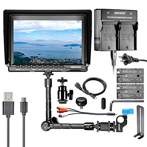 Neewer NW759 7'' HD Camera Monitor Kit, 1280x800 IPS Screen Camera Monitor + 11'' Magic Arm + Dual Battery Charger + 2 Pack F550 Replacement Battery for Sony Canon Nikon Olympus Pentax Panasonic by Neewer