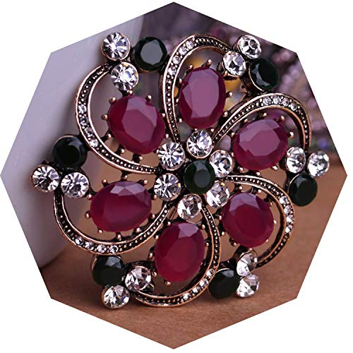 Vintage Style Flower Brooch Crystal Resin Hat Sweater Women Girl Wedding Dress Party Accessories Jewelry Bijoux,Red from AMBER DAVIDSON