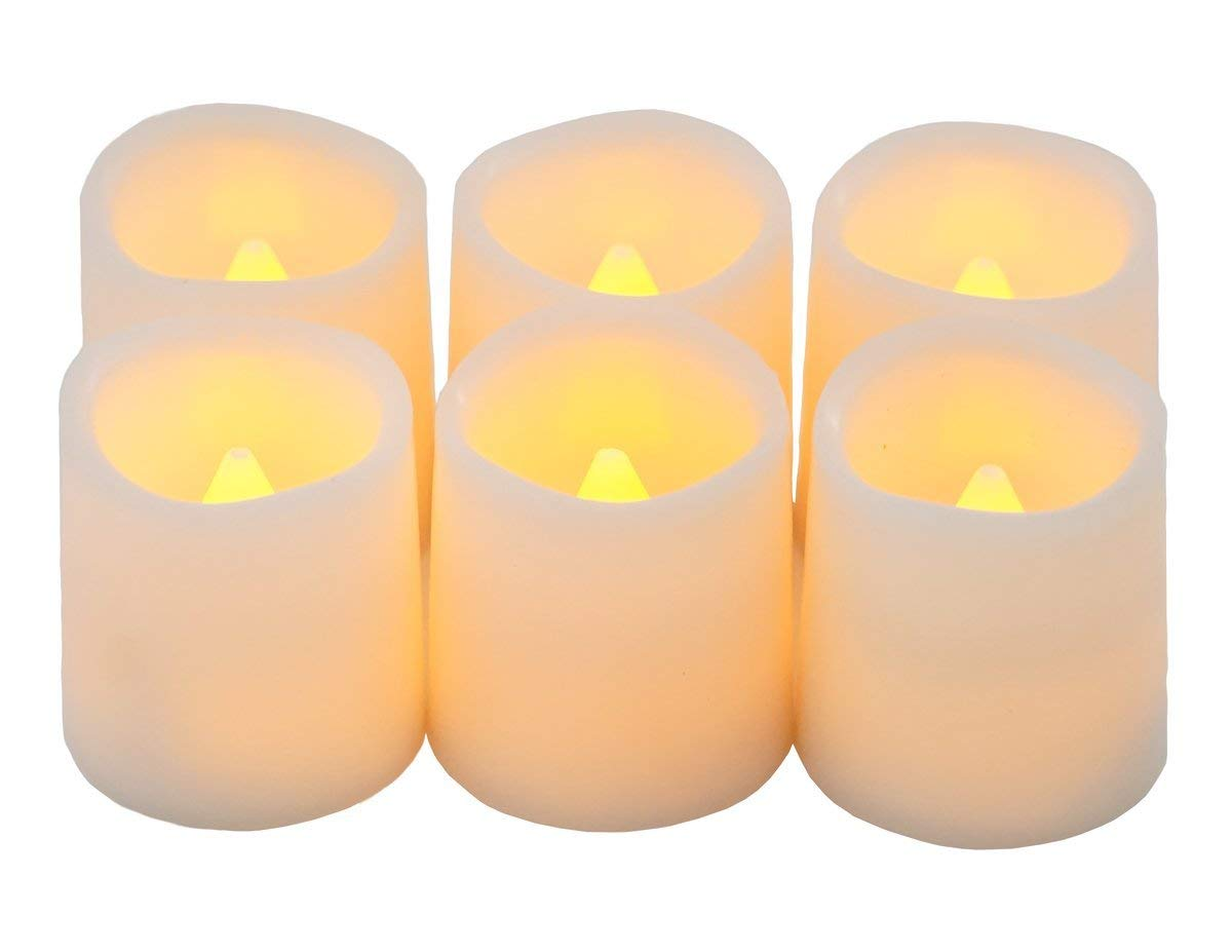 Festival Delights Timer Flameless Candles Premium IC Controlled Soft Flickering Votive Battery Operated Candles 150 Hours of Lighting 5H Timer Battery Included Dia. 1.5x1.75H