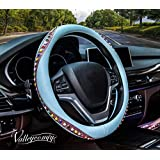 Valleycomfy Bohemian Style Car Steering Wheel Covers Universal 15 inch - Bling Colored Diamond for Women, Breathable, Anti Slip & Odor Free (Blue)