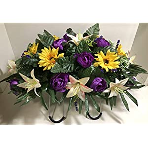 Spring Cemetery Flowers for Headstone and Grave Decoration-Purple Rose White Lily Yellow Daisy Mix Saddle 25