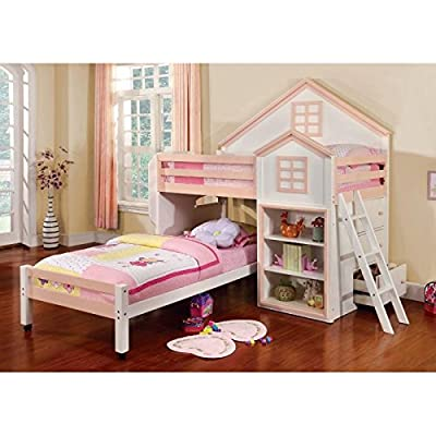 247SHOPATHOME IDF-BK131PW Childrens-Bed-Frames, Twin, White and Pink