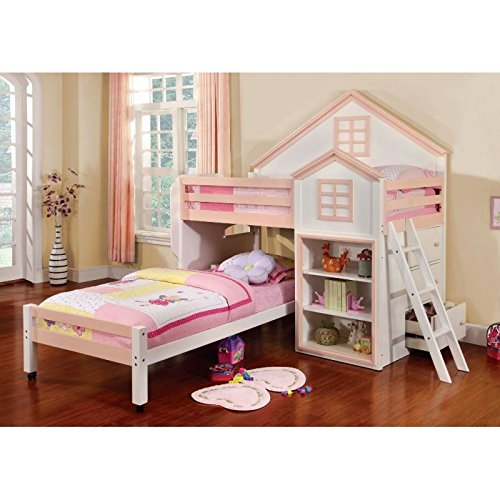 Citadel House Design White & Pink Finish Dual Twin Size Loft Bed Set by 247SHOPATHOME