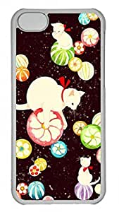 Lovely Hard Platic Transparent PC Case Shell for iPhone 5C,Lovely Cat Pattern Case for iPhone 5C by runtopwell
