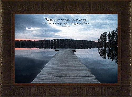 Plans By Todd Thunstedt 17.5x23.5 Inspirational Religious Bible Verse Sunset Clouds Quote Saying Jesus Testament Old New Psalm Framed Art Print Wall Décor Picture