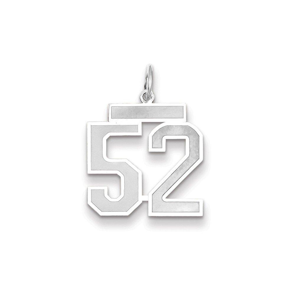 14k White Gold Medium Satin Number 52 Charm