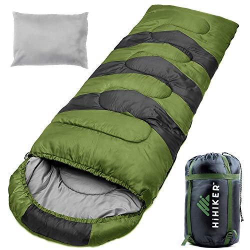 - HiHiker Camping Sleeping Bag + Travel Pillow w/Compact Compression Sack - 4 Season Sleeping Bag for Adults & Kids - Lightweight Warm and Washable, for Hiking Traveling & Outdoor Activities (Green)