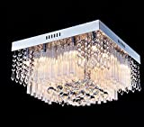 Saint Mossi Modern K9 Crystal Raindrop Chandelier Lighting Flush mount LED Ceiling Light Fixture Pendant Lamp for Dining Room Bathroom Bedroom Livingroom Square Design Height 25cm x Width 40cm