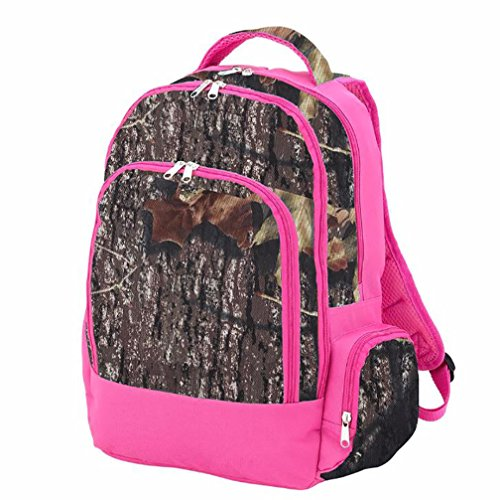 Wholesale Boutique Reinforced Design Water Resistant Backpack (Camo with Pink Trim)