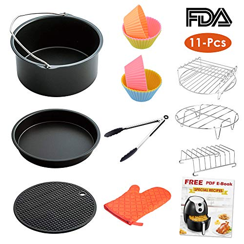 LATTCURE Air Fryer Accessories, 8 Inch for 5.8 qt XL Air Fryer, 11 pieces for Gowise Phillips and Cozyna Air Fryer, Fit 4.2 qt to 5.8 qt
