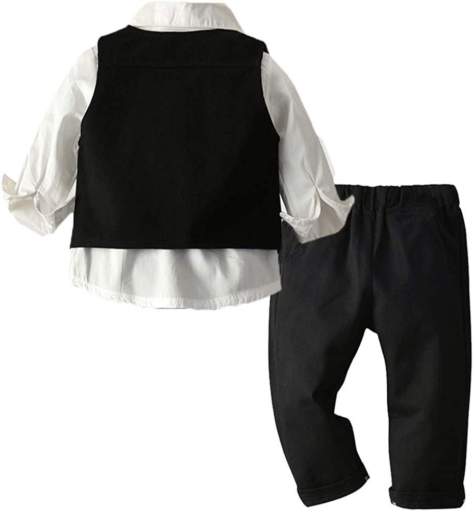 ARTMINE Toddler /& Little Boy 3-Piece Vest Set with Bow Tie Dress Shirt 6 Months-6 Years Pants and Vest