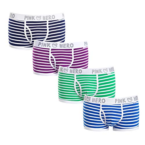 GEEK LIGHTING Men's Boxer Briefs 4 Pack No Ride-up Stretchy Modal Underwear (Striped Suit, Large)